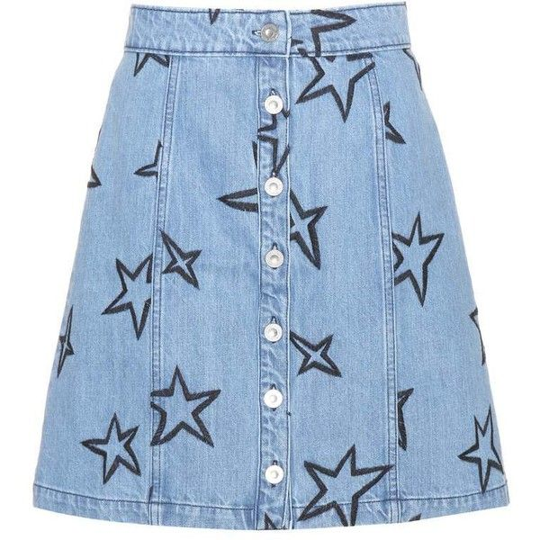 Être Cécile Star-Embroidered Denim Miniskirt (£125) ❤ liked on Polyvore featuring skirts, mini skirts, bottoms, denim, saia, jeans, blue, embroidered mini skirt, blue denim skirt and short mini skirts