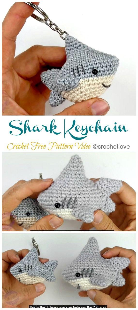 Amigurumi Shark Keychain Crochet Free Patterns #amigurumifreepattern