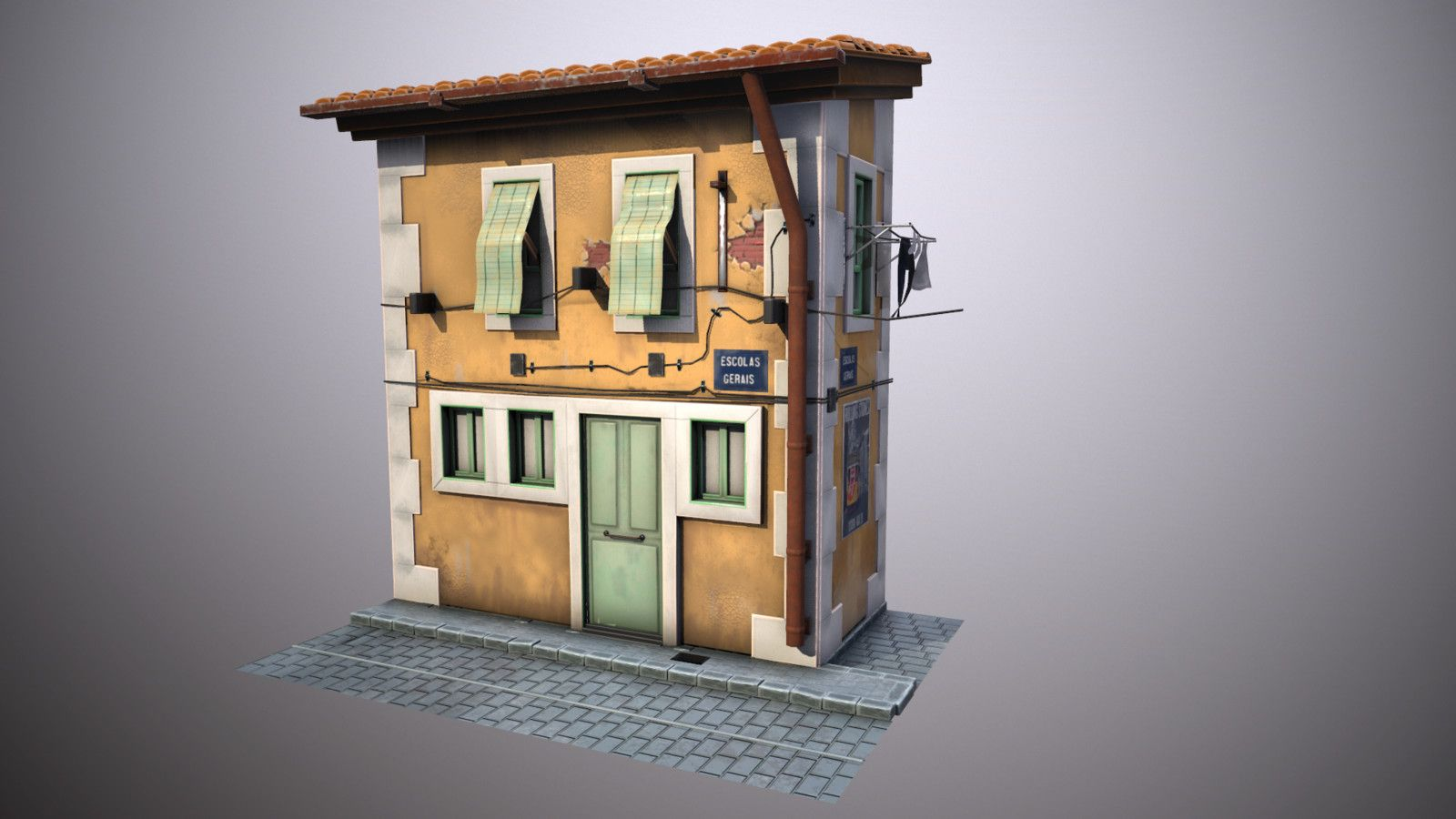 Lisbon House stylized, Clément RIGONDET on ArtStation at https://www.artstation.com/artwork/ADJlX