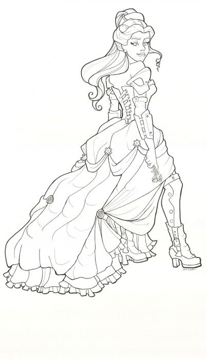 Great line drawing of Steam Punk Belle   Stuff from here to there ...