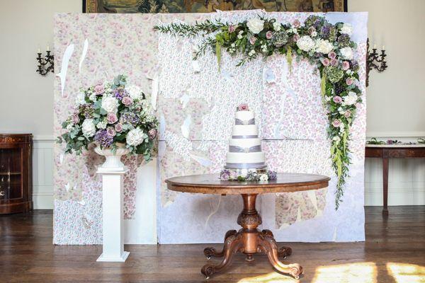 Edwardian Inspired Bridal Elegance Elmore Court With Vintage Wallpaper Backdrop Http Www