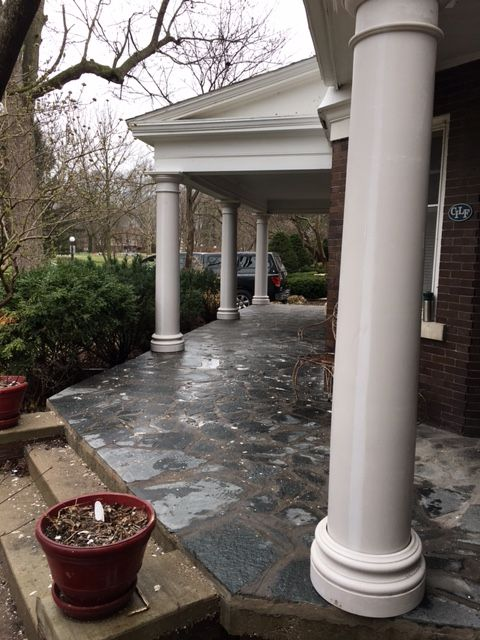 Round Tapered Plain Fiberglass Column Not Yet Painted With All Round Tuscan Cap And All Round Attic Base Porch Columns Fiberglass Columns Tuscan Design