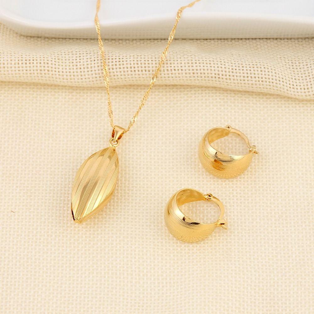 Bangrui ethiopian set necklace pendant earring set joias ouro yellow