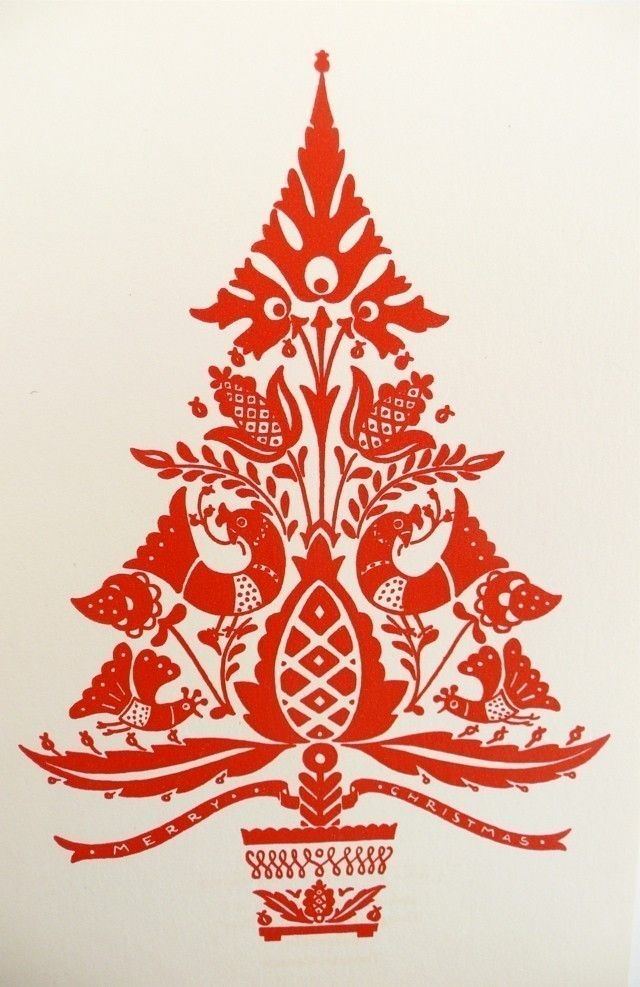 Six Vintage Christmas Cards/Hungarian Folk Art