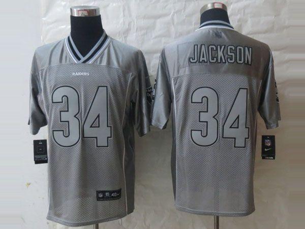 timeless design 38920 46076 nike oakland raiders 34 bo jackson 2013 gray vapor kids jersey