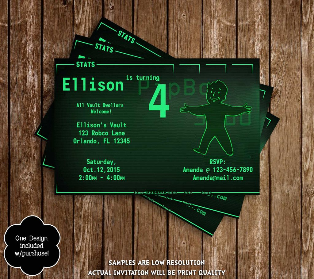 make your own birthday party invitations online for free%0A Fallout   Pipboy Birthday Party Invitations