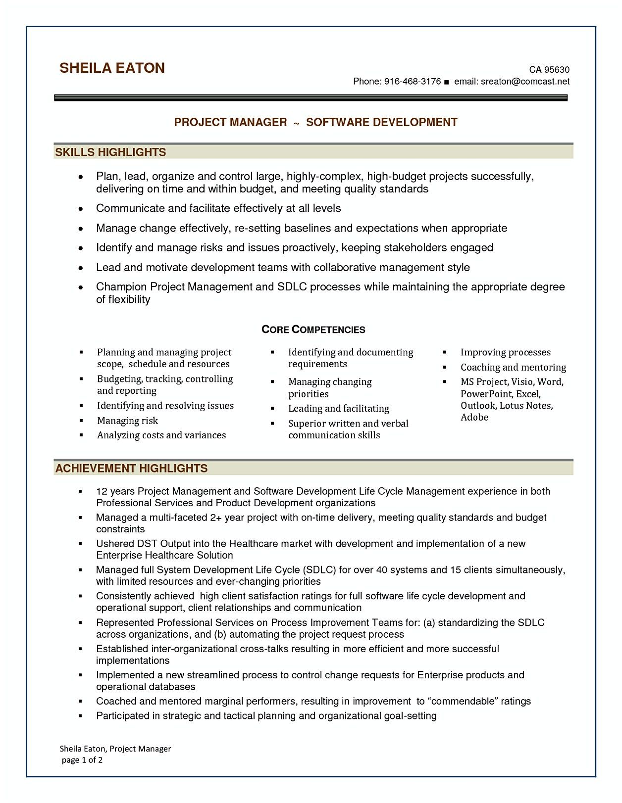 Software Project Manager Resume