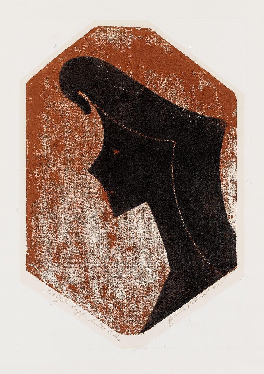 Zeichen eines Kopfes / Mädchen kopf Handdruck - holzschnitt 1953 - Ewald Wilhelm Hubert Mataré, 1887-1965 Deutschland