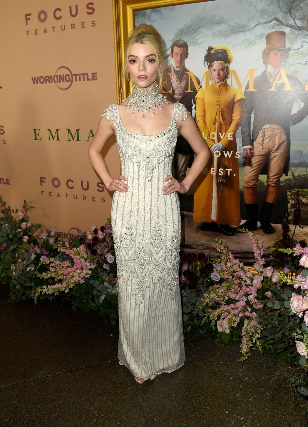 Anya Taylor Joy Wore A Vintage Wedding Dress To The Emma Premiere Anya Taylor Joy Wedding Dresses Vintage Wedding Gowns Vintage