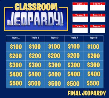 Jeopardy Template 2 Rounds Keep Score Up To 6 Teams