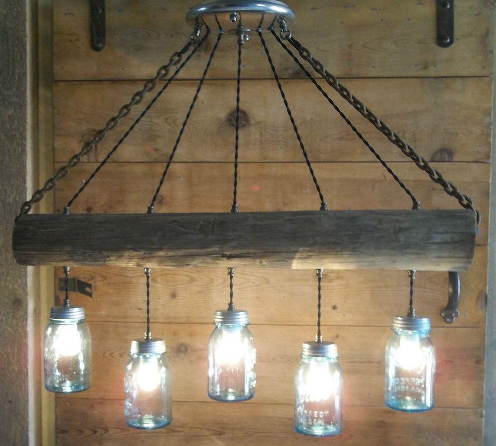 10 Light Diy Mason Jar Chandelier Rustic Cedar Rustic Wood: Original Farm Wood Fence Post BLUE BALL Mason Jar Light