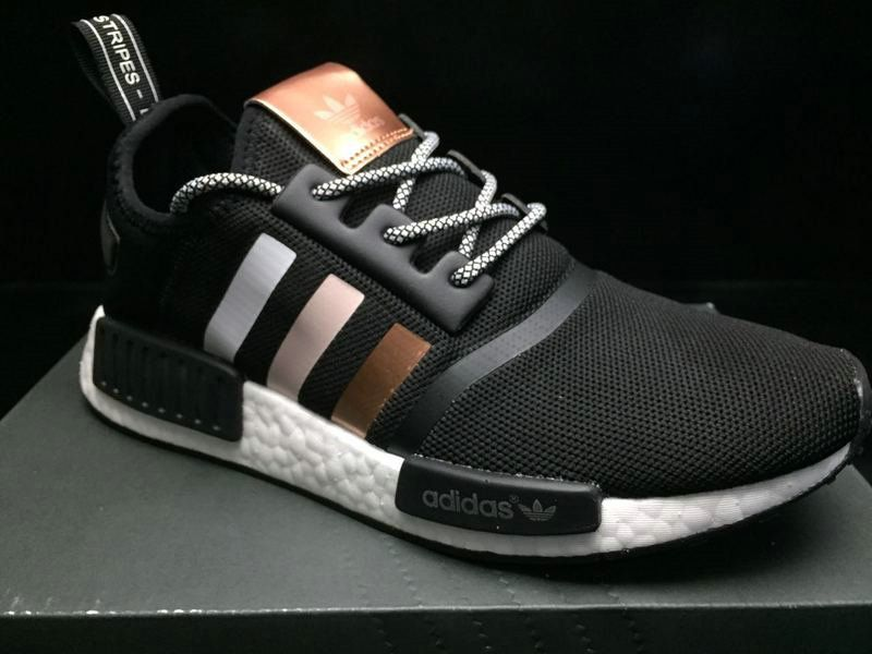 e1aee03e6519 2018 New Unisex Adidas NMD R1 PK Boost Rose Gold Black White BZ0292 On Sale