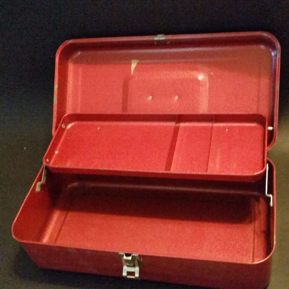 Vintage Red Metal Tackle Box Hinged Handle Craft Jewelry Tools Lures