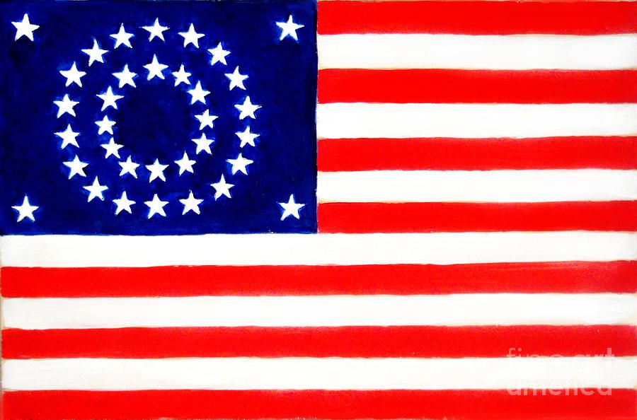 34 Star American Flag By Sofia Metal Queen American Flag Painting Flag Painting American Flag