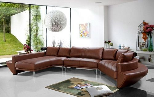 Contemporary Curved Sectional Sofa In Brown Leather Modern Living Room Furniture