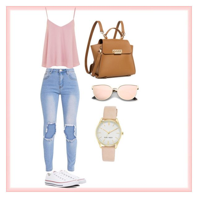 """""""Casual and pretty!"""" by jenimarrivera on Polyvore featuring Topshop, Converse, ZAC Zac Posen and Nine West"""