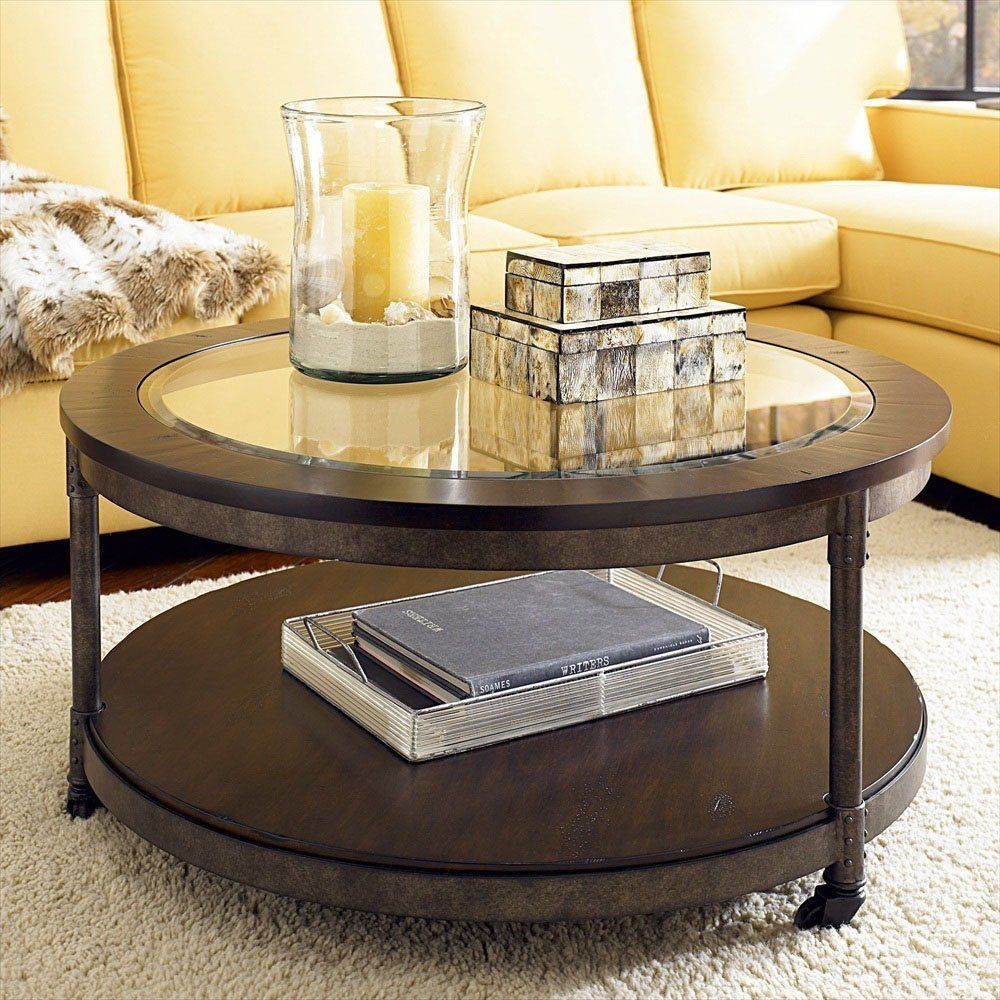 Living Room Candle Glass On Elegant Round Glass Top Coffee Table Design  Feat White Shag Rug