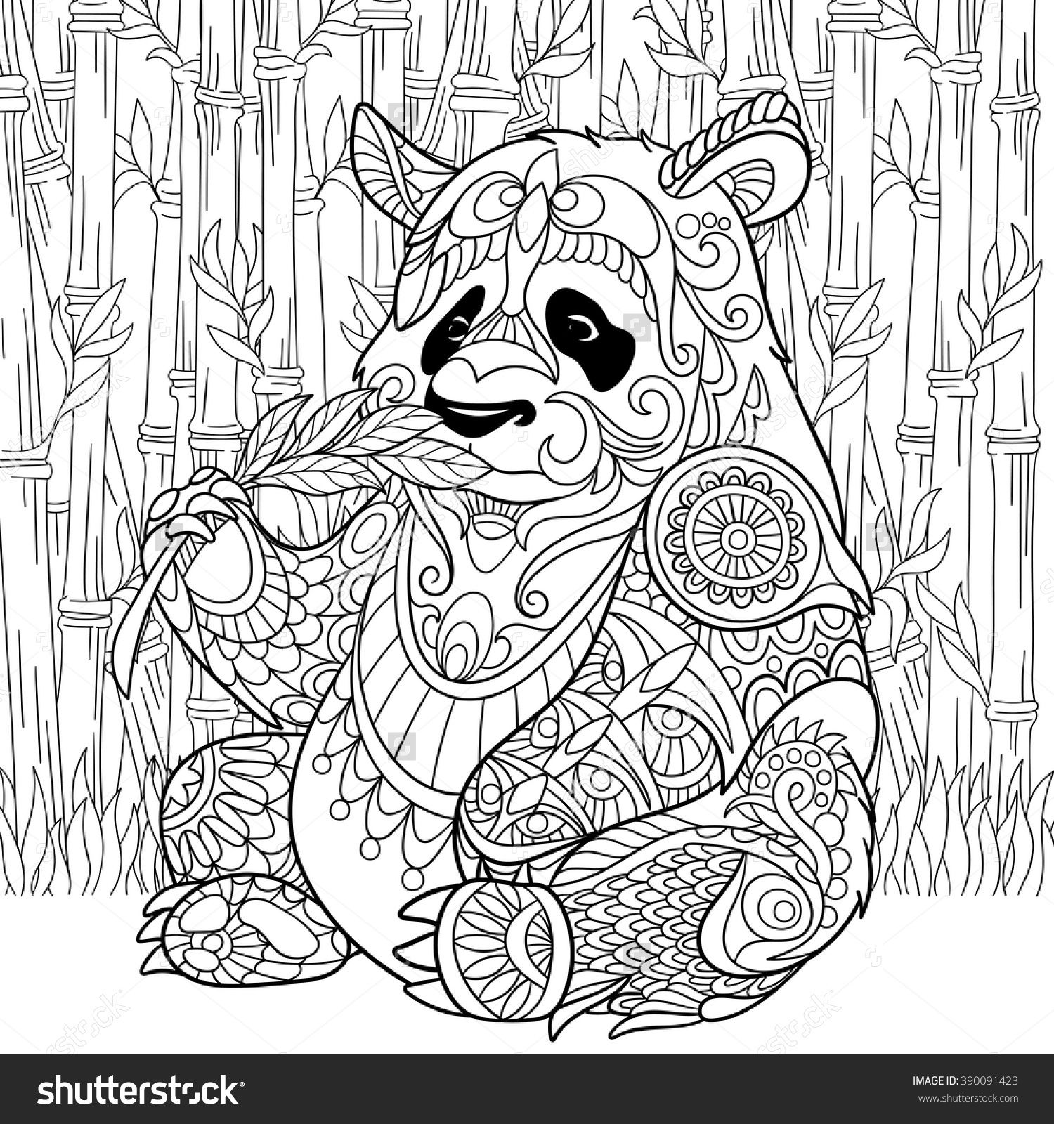 Zentangle Stylized Cartoon Panda Sitting Among Bamboo Stems. Sketch For  Adult Antistress Coloring Page. Hand Drawn Doodle, Zentangle, Floral Design  Elements ...