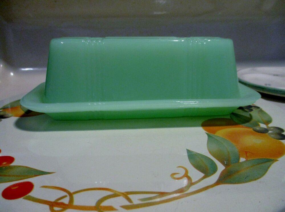 Jadeite Green Glass Stick Criss-Cross Butter Dish & Lid In