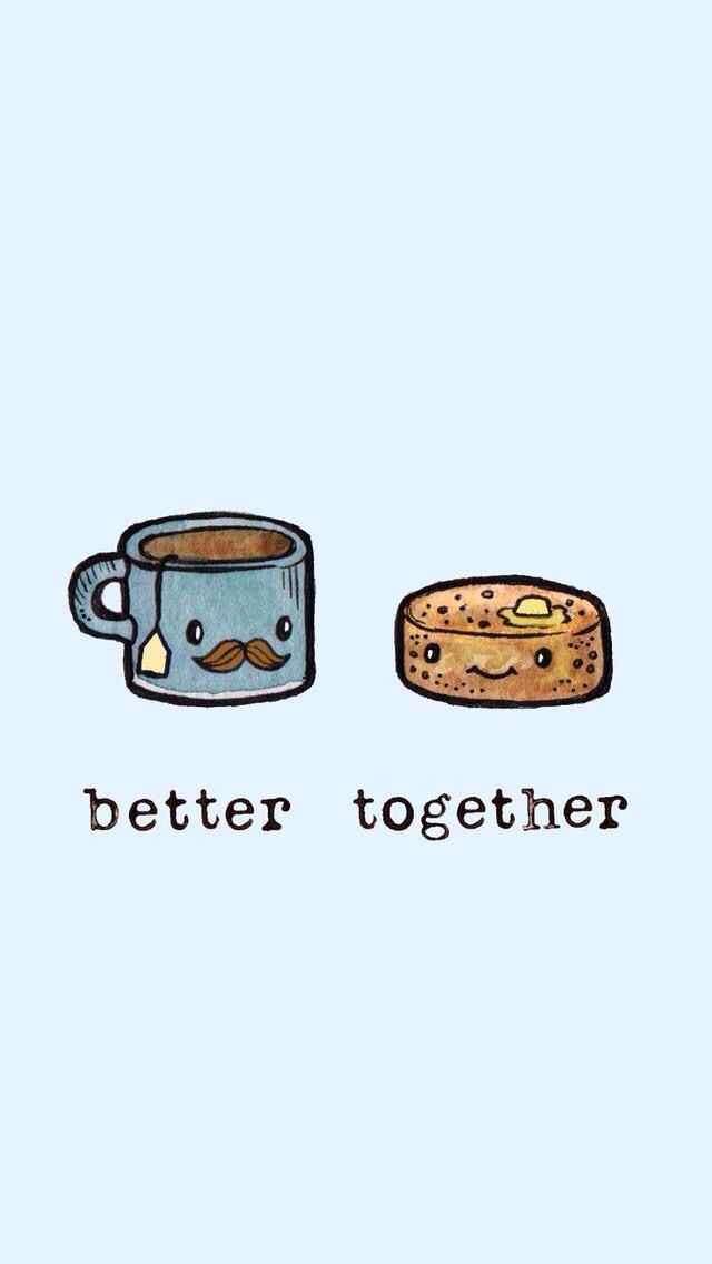 Food Bff Cute Drawings : drawings, Better, Together, Coffee, Cookie, Wallpaper,, Wallpapers,, Friend, Wallpaper