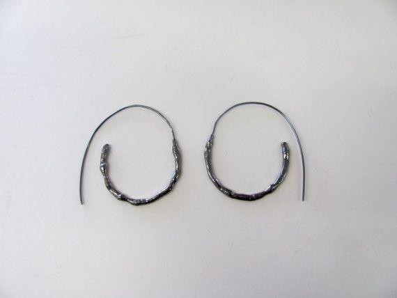 Sterling Silver Oxidized Black Hoop Earrings by RustandRam on Etsy