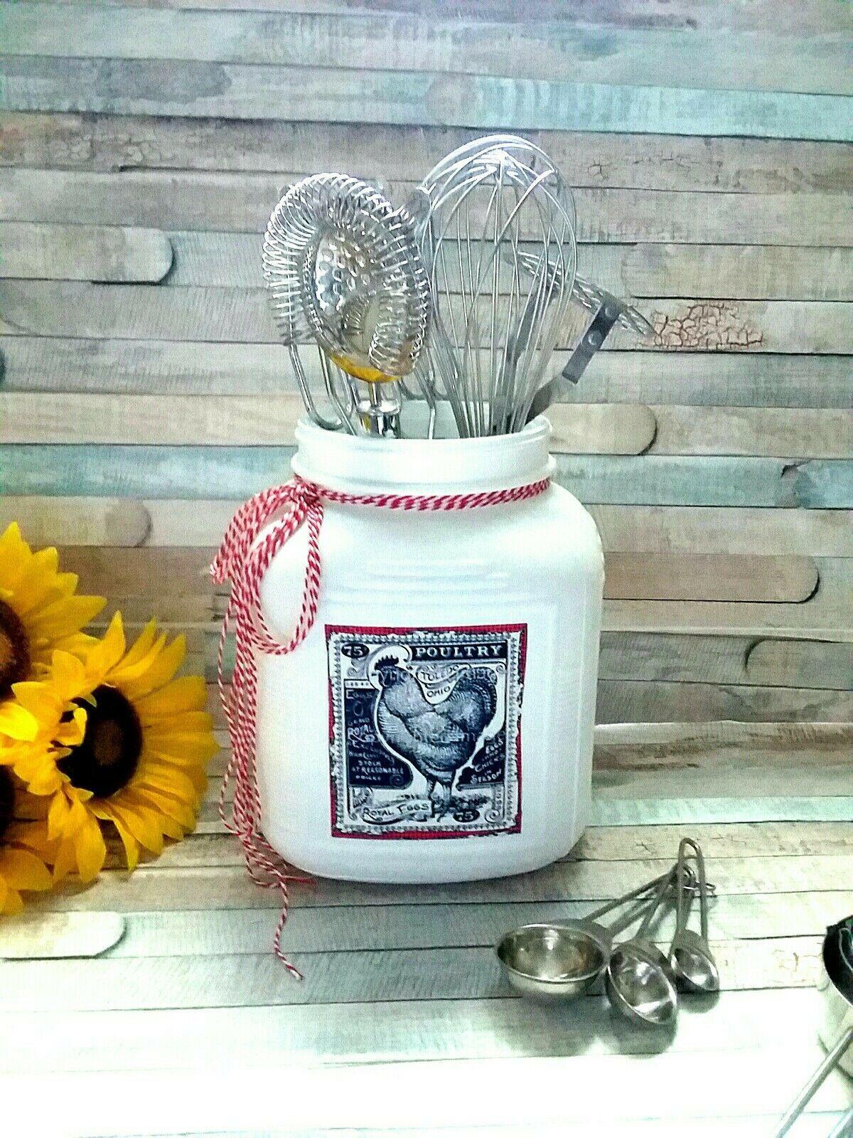 Flip Stir Whisk Utensil Holder Mason Jar Decor Kitchen