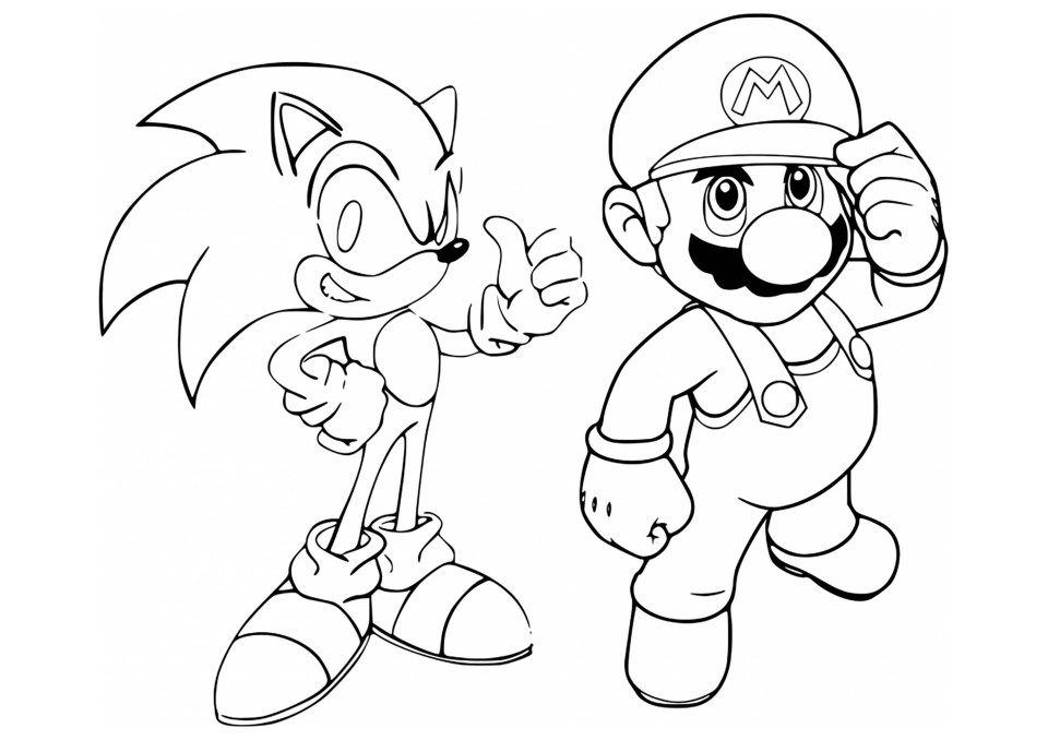 Mario Coloring Pages Mario Sonic Coloring Page Mario Bros Kids