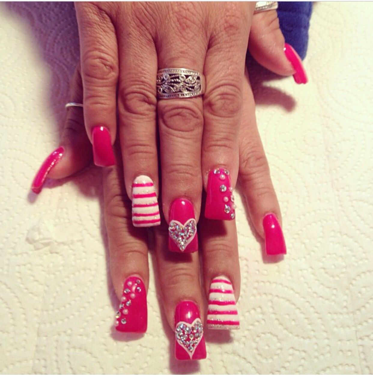 CUTE flared tip nails, with red polish, stripes and stones | duck ...