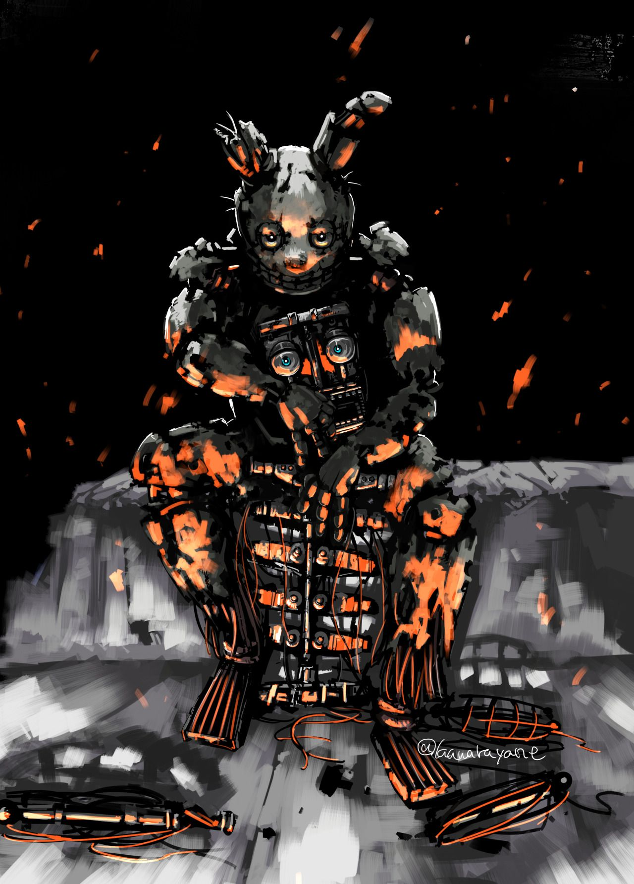 Springtrap With Golden Freddy S Endoskeleton Fnaf Fnaf Art Fnaf Drawings