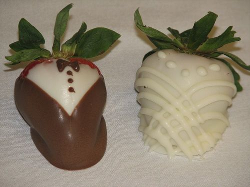 Bride and Groom Chocolate Covered Strawberries. Yum!