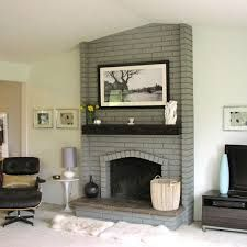 Gray Painted Fireplace With Black Mantel Painted Brick