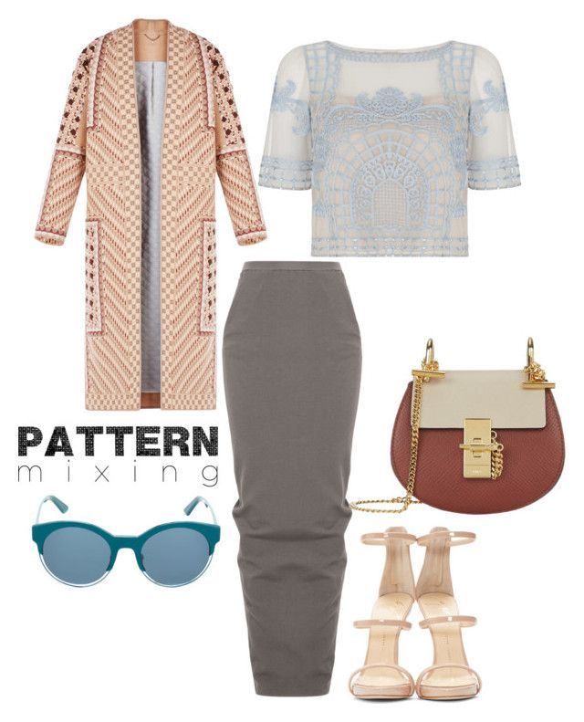 """""""Untitled #280"""" by xyz-affairs ❤ liked on Polyvore featuring Temperley London, BCBGMAXAZRIA, Rick Owens, Christian Dior, Giuseppe Zanotti, Chloé and patternmixing"""