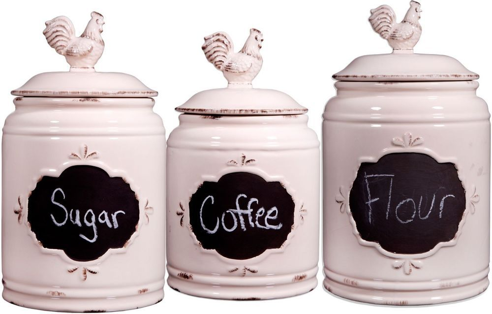 Set Of 3 Ivory Chalkboard Rooster Canisters Gb By Home Essentials