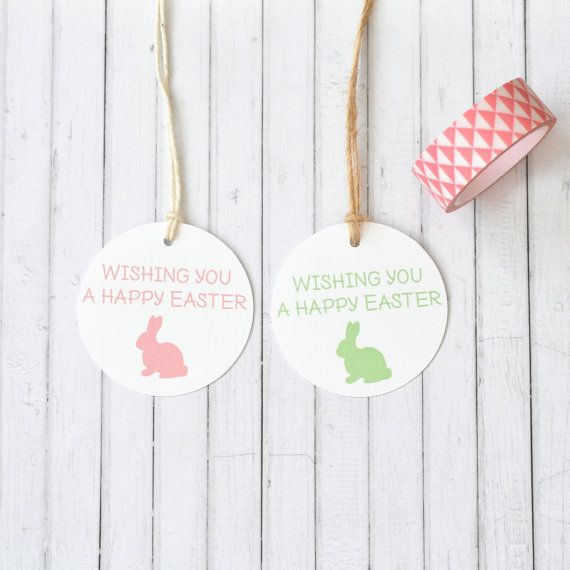 Wishing you a happy easter colourful easter gift tags easter wishing you a happy easter colourful easter gift tags easter party tags bunny silhouette rabbit pack of 10 20 50 100 negle Choice Image