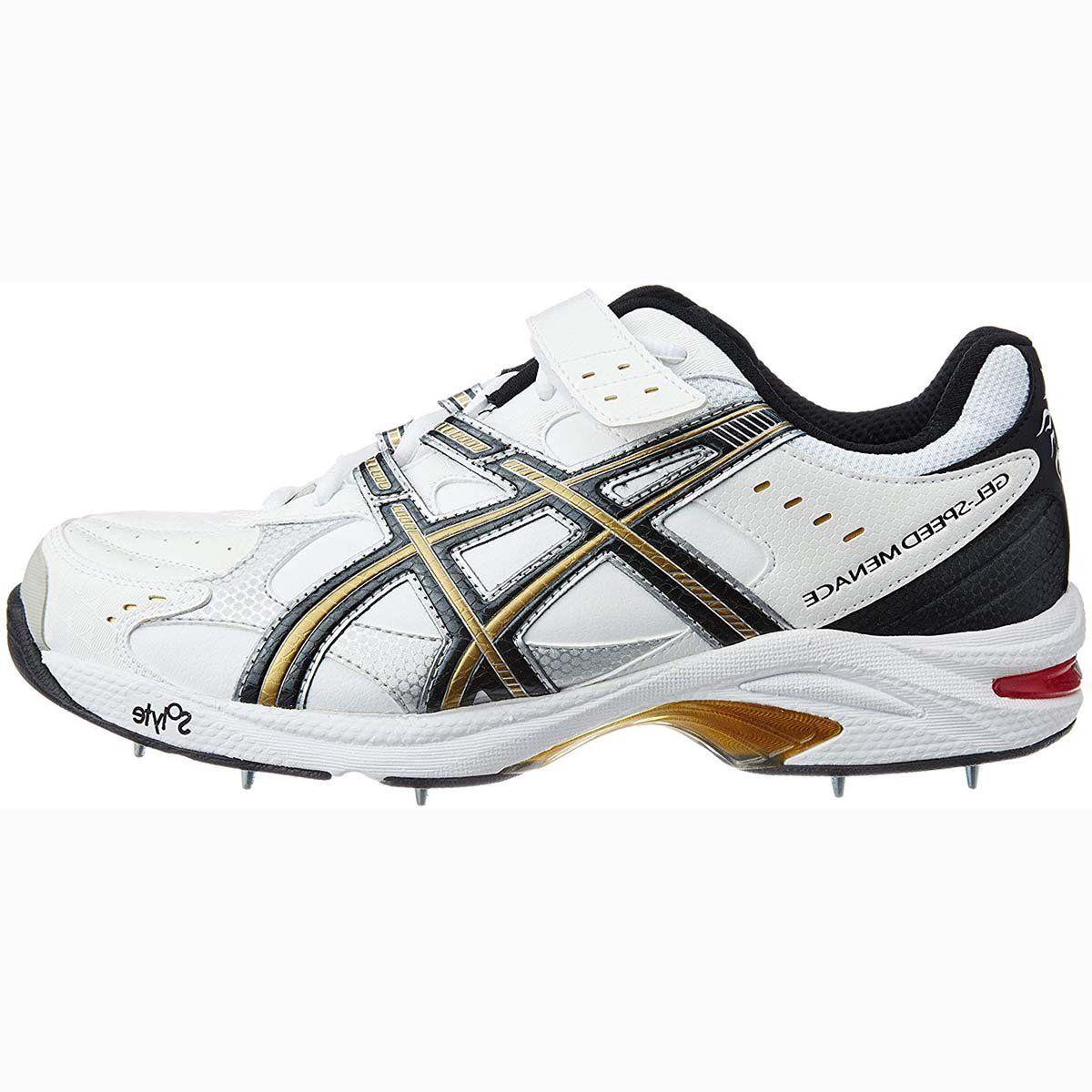 Asics Gel Speed Menance Cricket Shoes Wht Blk Gld In 2020 Asics Asics Gel Shoes