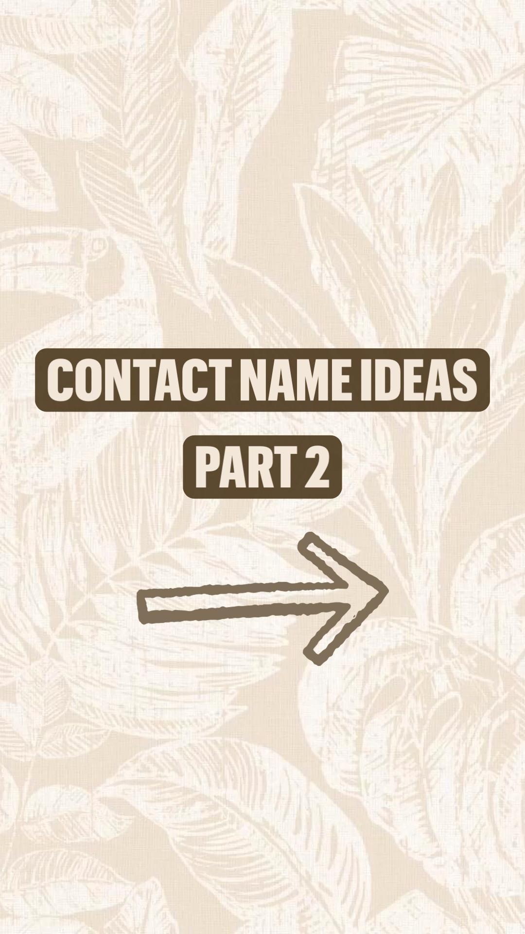 Contact name ideas