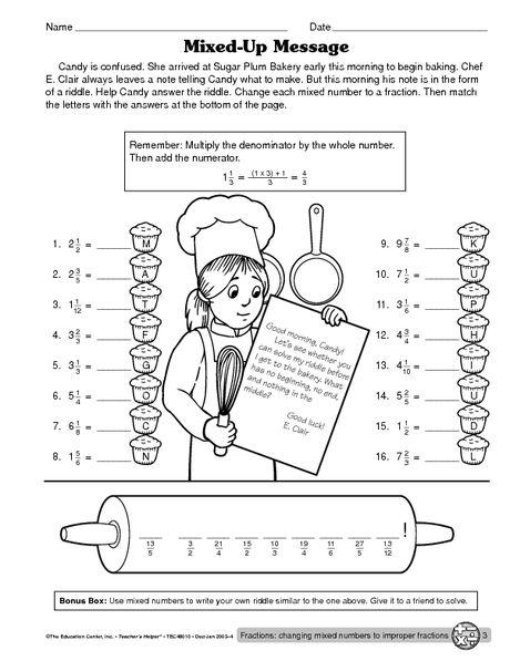 Improper Fractions Fractions 2nd Grade Math Worksheets Math Drills