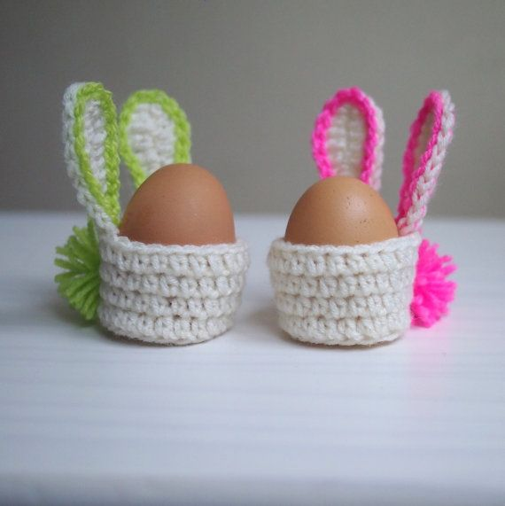 Crochet PATTERN, Easter bunny egg cozy basket, kids, home decor ...