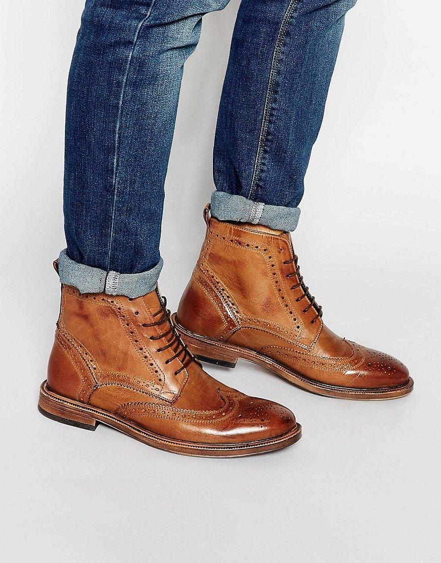 KG by Kurt Geiger Brogue Boots Tan | Mens boots fashion