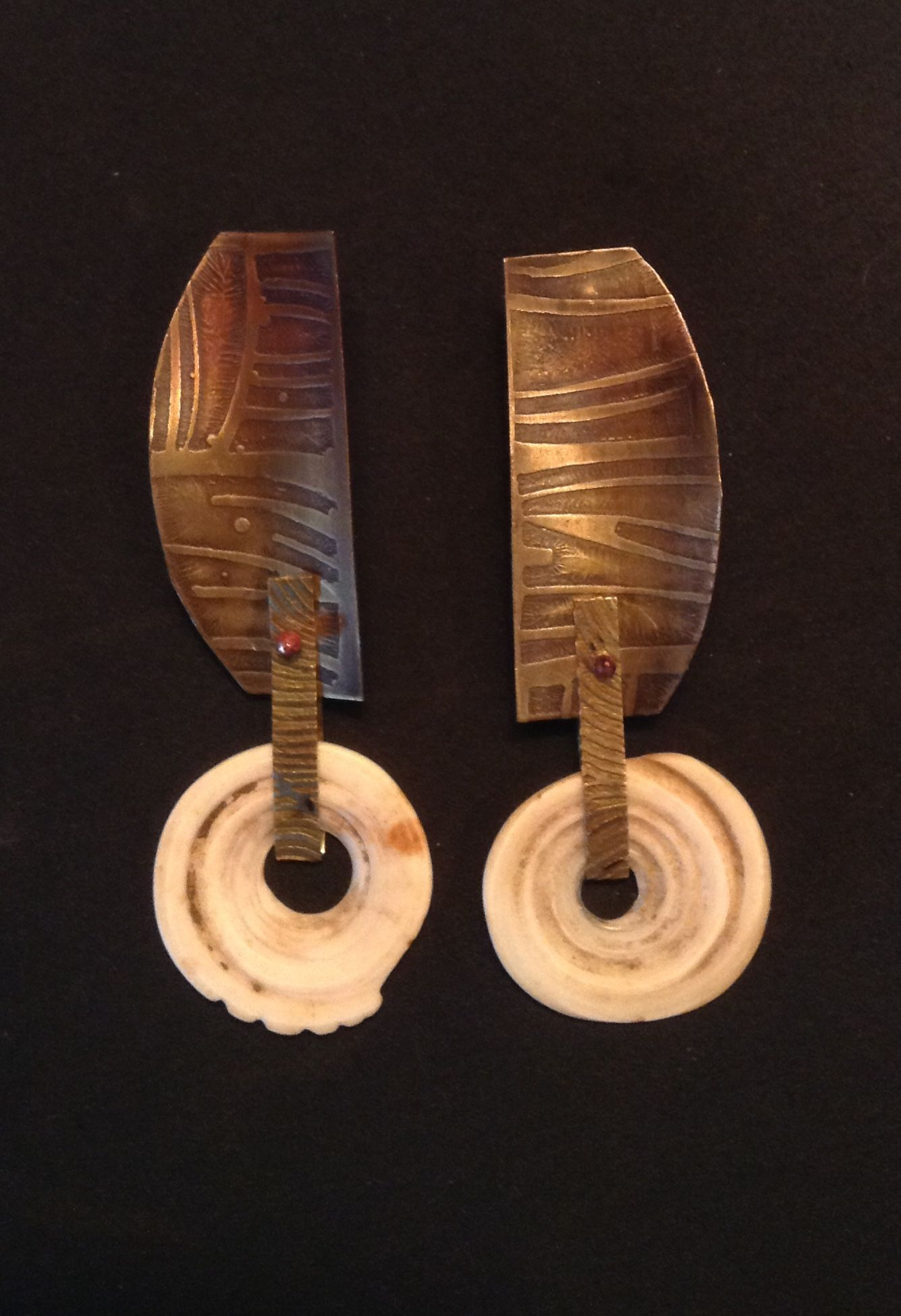 Brass and shell earrings - Terry Enfield
