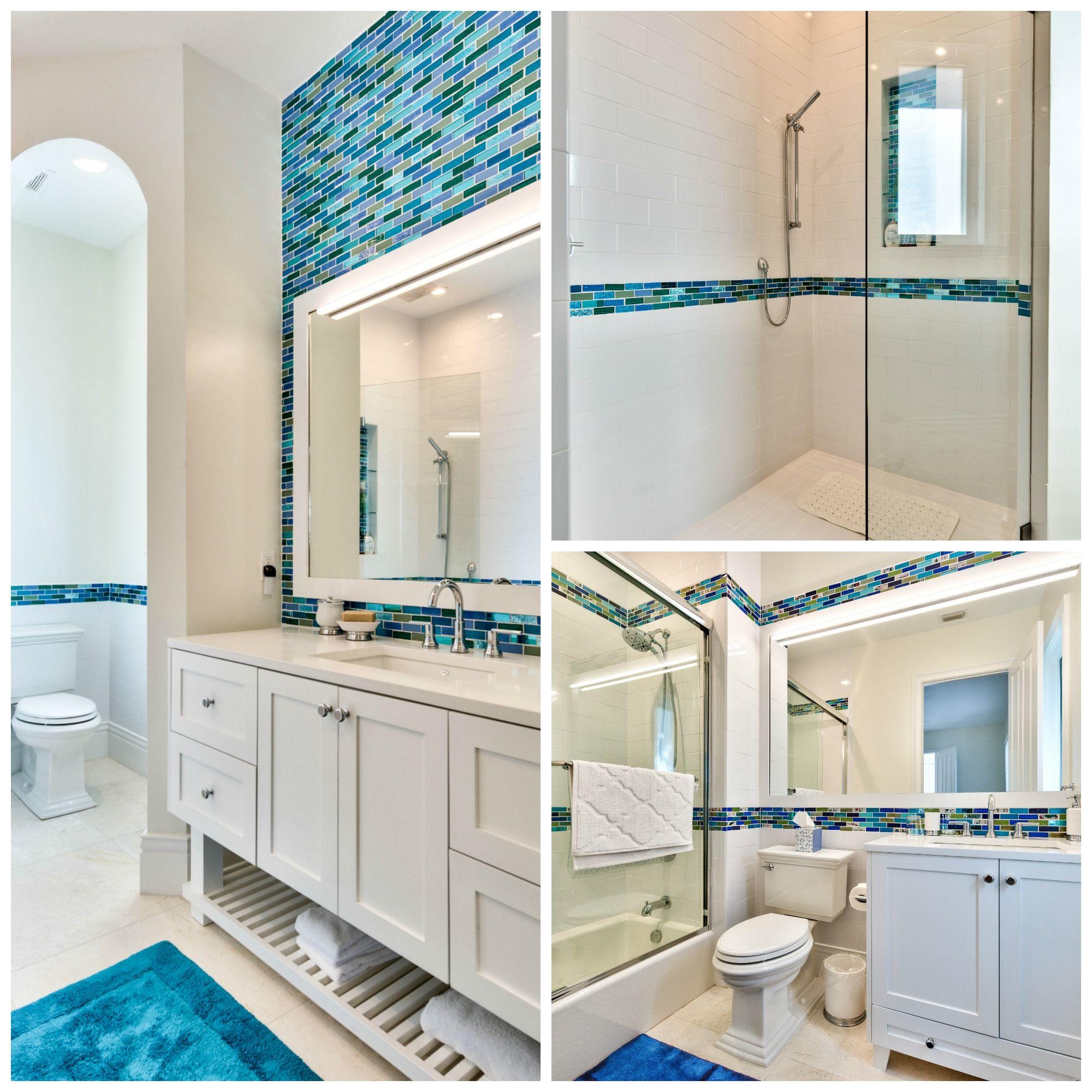 The Blue Tile Backsplash Along The Vanity Wall Bring The Serenity Of The Ocean Inside Naplesflorida B Blue Backsplash Blue Tile Backsplash Bathrooms Remodel [ 2000 x 2000 Pixel ]