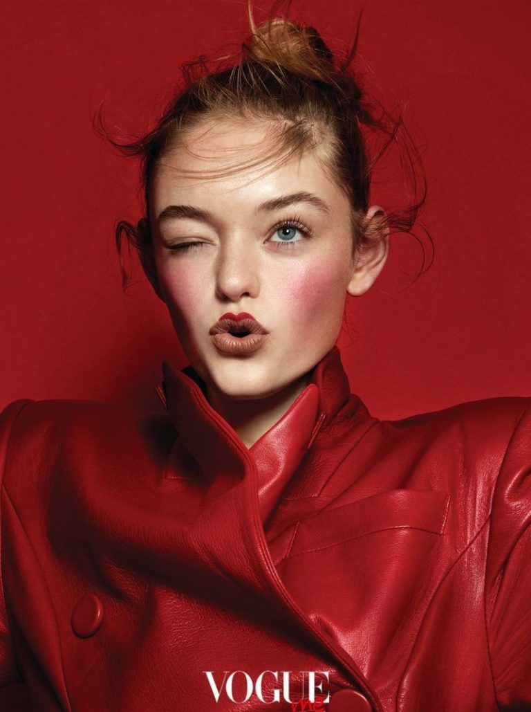 Willow Hand is in the Red for Vogue Taiwan Me Beauty Spread #editorialfashion