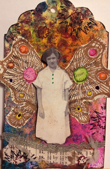 my latest tag I created using stamped wings from Stampotique!! image is a copy of an original black and white I own!