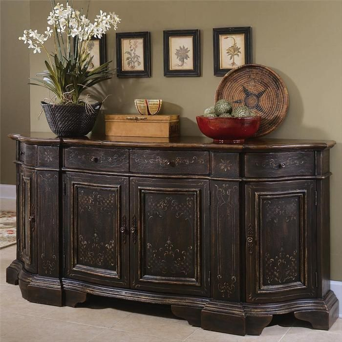 Beladora 4 Drawer Serpentine Credenza In Black | Nebraska Furniture Mart