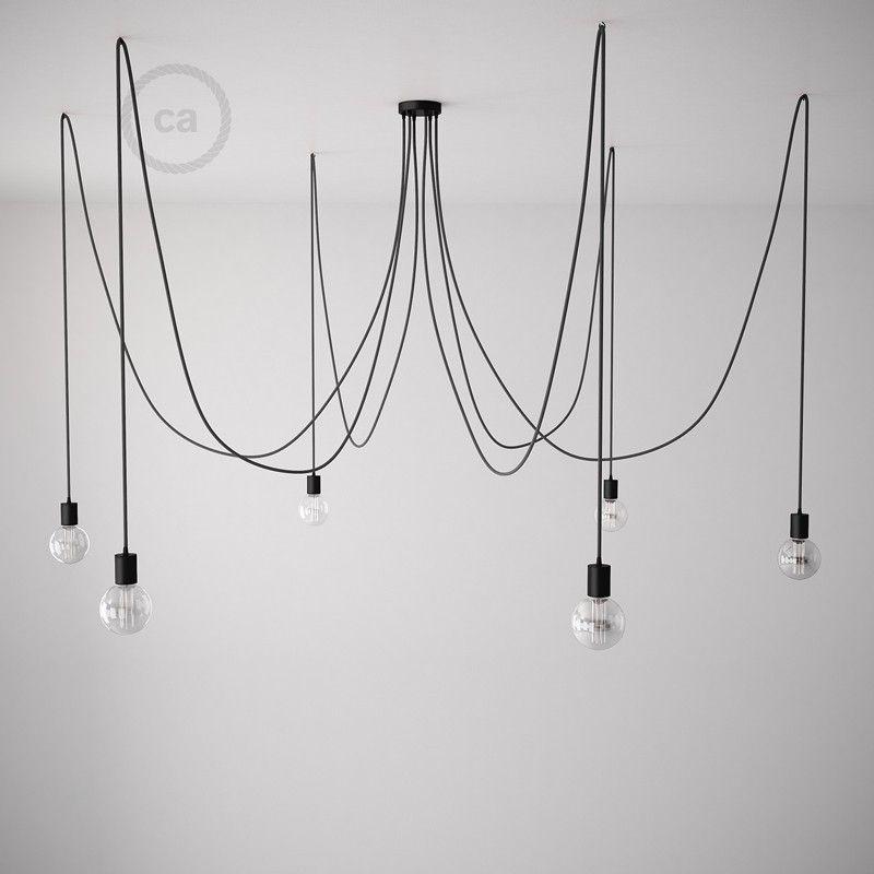 Deckenleuchte Spider Metall Schwarz Mit Kabel RM04 Schwarz