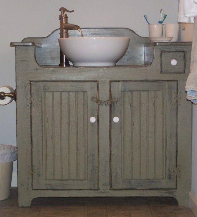Dressser Turned Vanity Primitive Bathroom Primitive Bathrooms Dry Sink