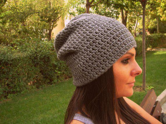 1defaadb39e Slouchy Beanie Gray Hat Crochet Slouch Beanie Womens Grey Beanie Hipster  Hat Gray Slouchy Beanie M