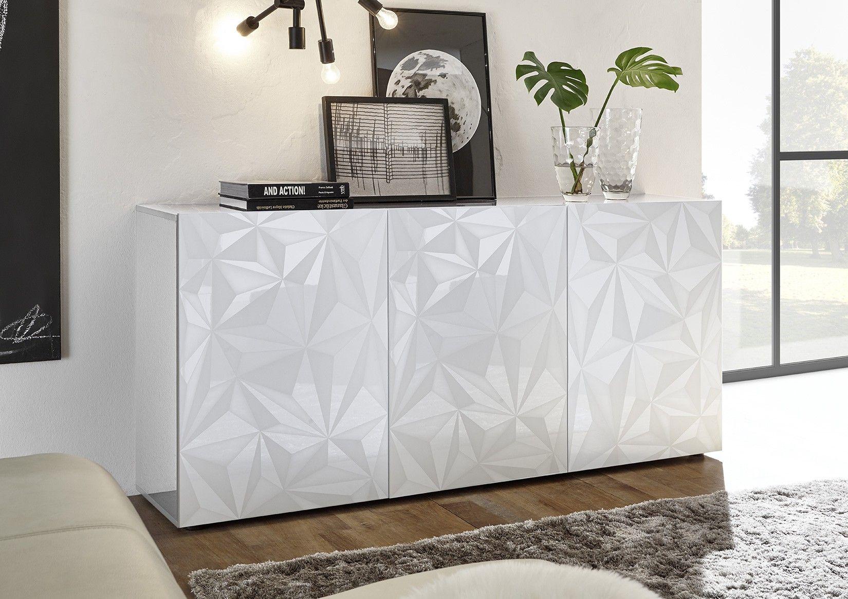 Credenza Moderna Sala Da Pranzo : Madia moderna serigrafata in finitura bianca laccato lucida