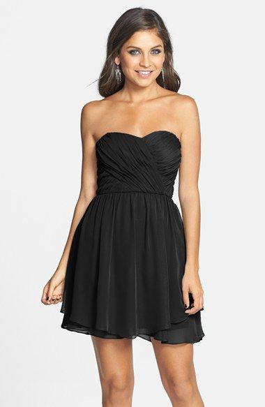 Hailey+Logan+Wrap+Detail+Strapless+Chiffon+Skater+Dress+(Juniors)+available+at+#Nordstrom