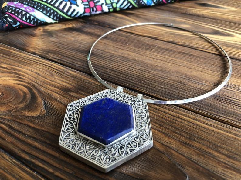 Gothic jewelry hexagon Wiccan medallion boho gypsy ethic afghan kuchi tribal jewel Tuareg amulet Vintage berber  blue turquoise pendant